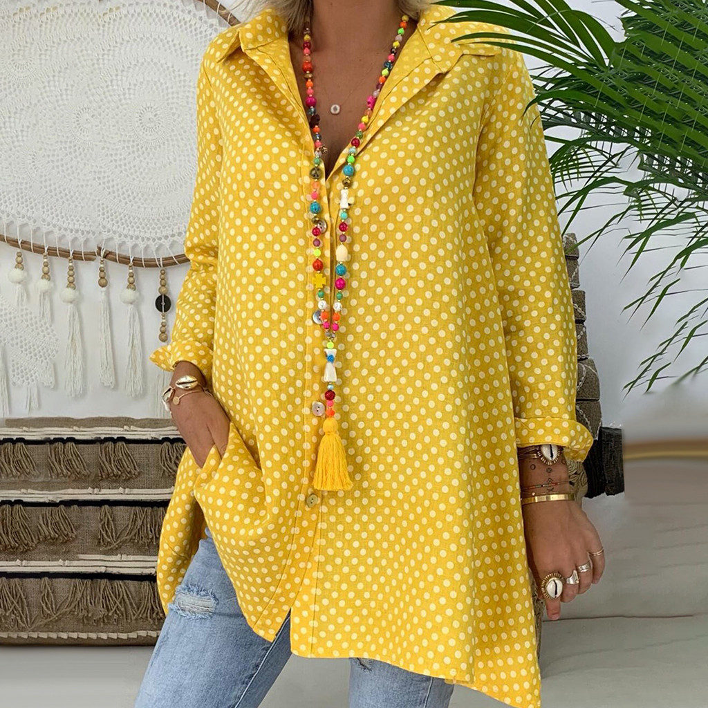 Women Plus Size Long Sleeve Blouse Button Up Pocket Dots Casual Top Loose Shirt