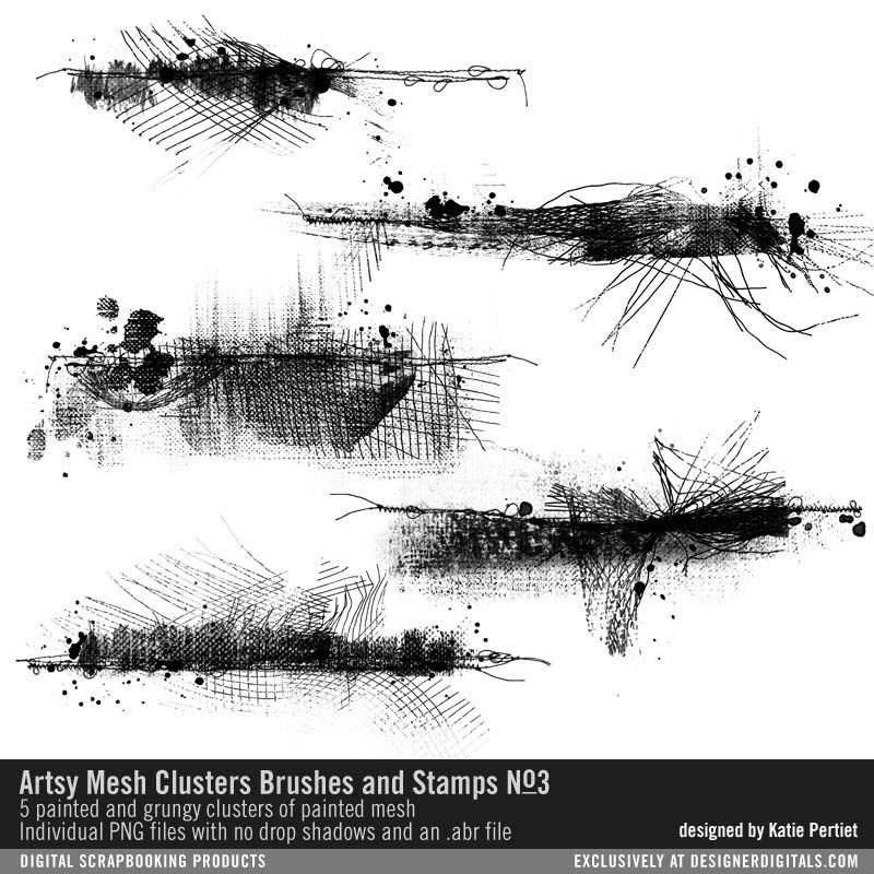 Artsy Mesh Clusters Brushes and Stamps No. 03 messy