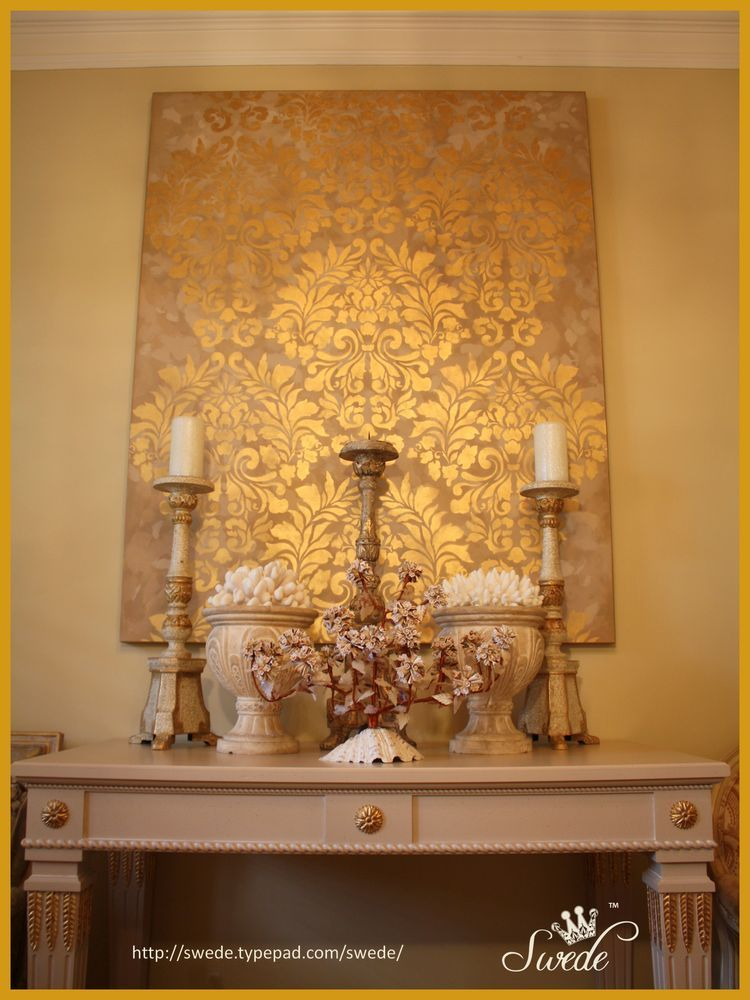 Elegant Wall Art fabric damask wall stencil | damask wall stencils, damask wall and
