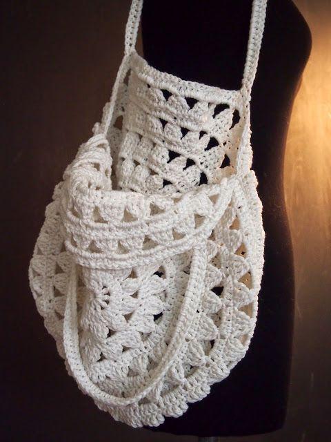 VMSomⒶ KOPPA: Flor branca do saco círculo verão #crochetformoney