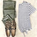 Stripes, Olive and Leopard Outfit #leopardshoesoutfit Military green skinny jeans, black striped top, leopard shoes #leopardshoesoutfit