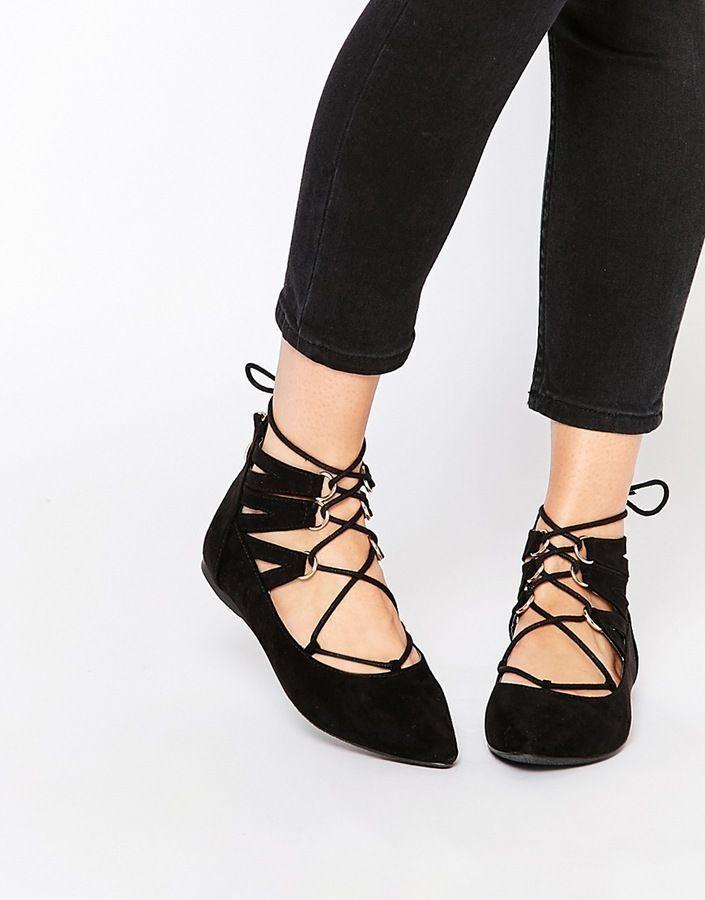 Tie up flats, Lace up ballet flats