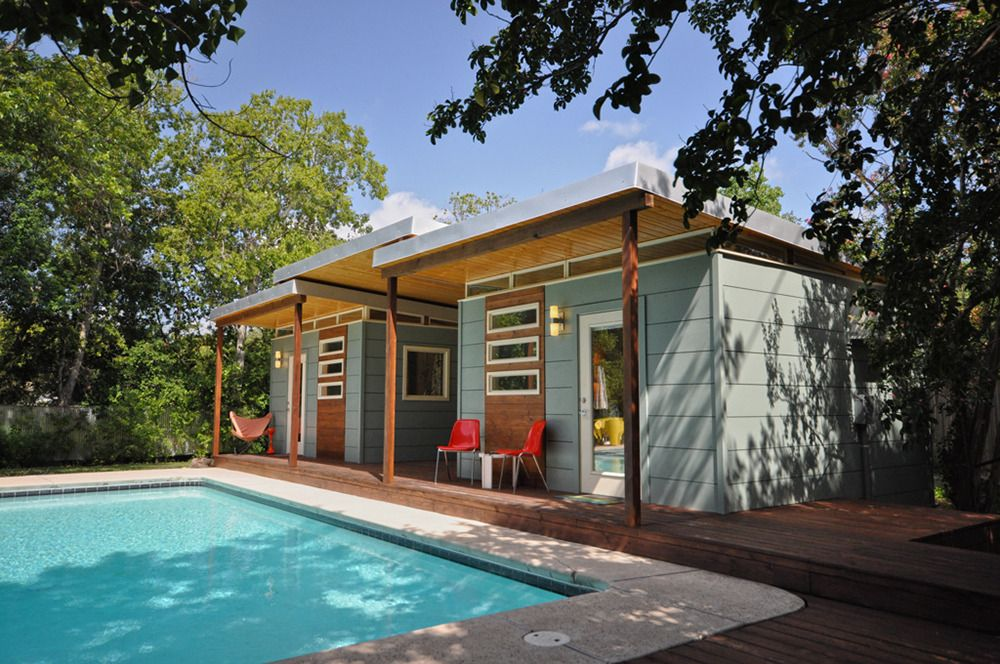 Customer gallery double 14x14 modern studios w breezway for Prefab backyard guest house