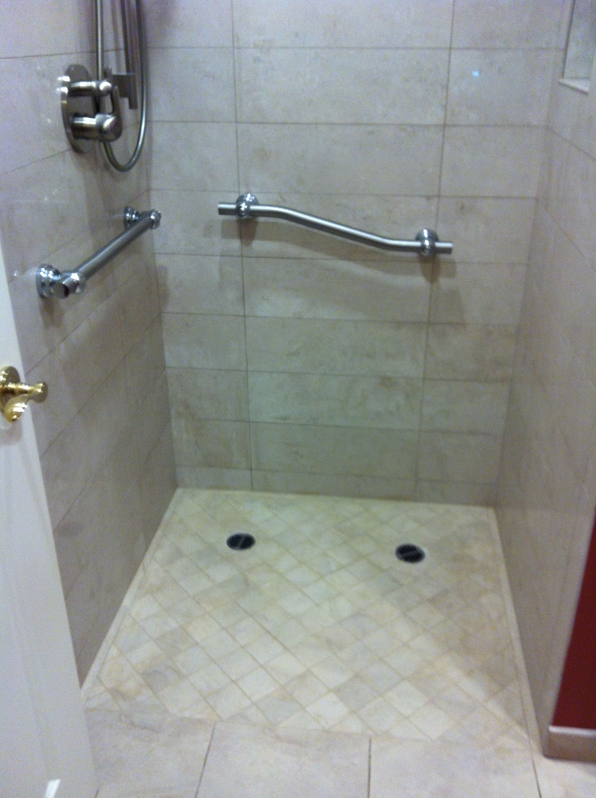 curbless shower with grab bars shower