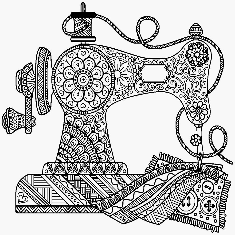Pin By Nava Te On Coloring For Adults Sewing Machine Drawing Machine Embroidery Patterns Sewing Machine Embroidery