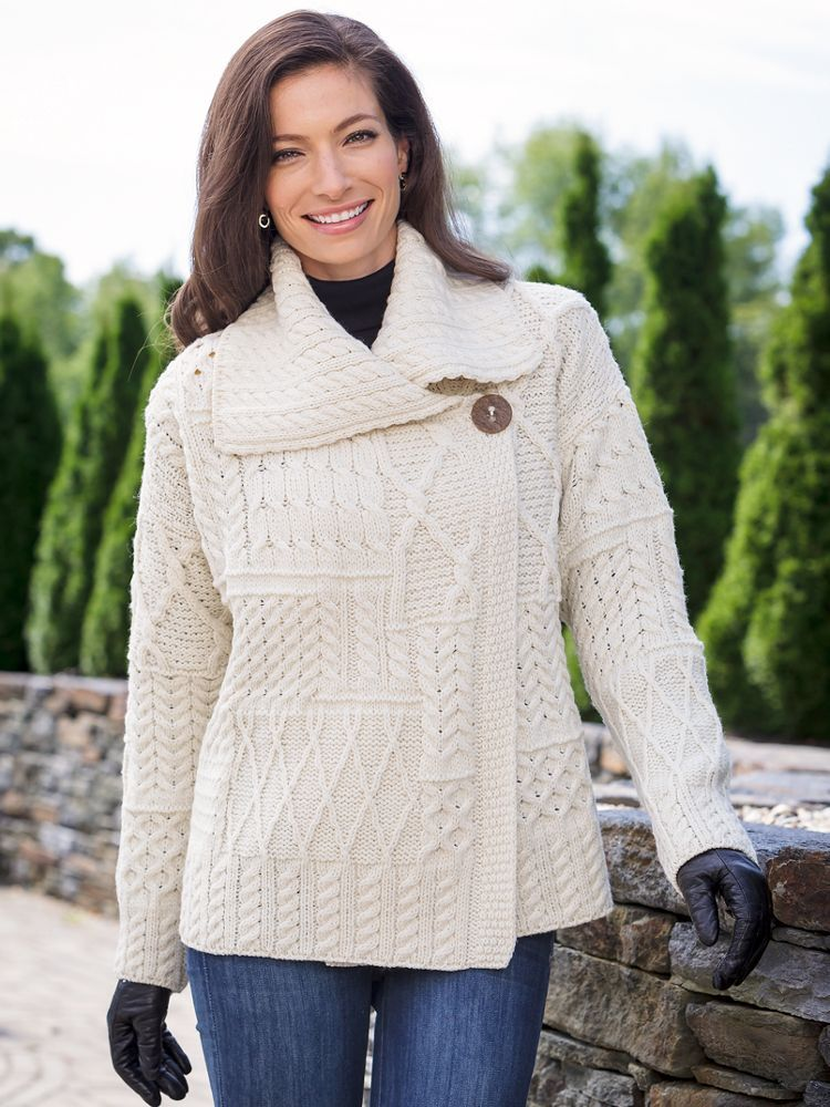Women's Irish Merino Wool Sweater: Artfully knitted in a patchwork ...