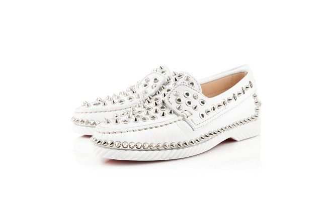 brand new 2b2da 602a0 Louboutin white leather yacht spikes flats | Shoes <3 ...