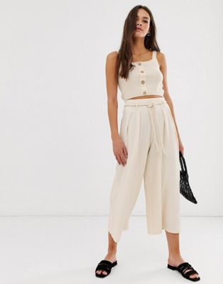071a5e12c950 DESIGN textured culotte with rope belt in 2019   Pants   Asos ...