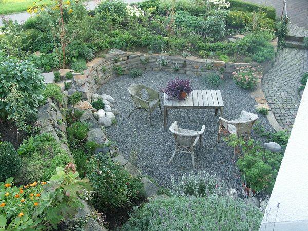 gartengestaltung mit sitzplatz sitzplatz mit kies | gardening | garten, sitzecken garten