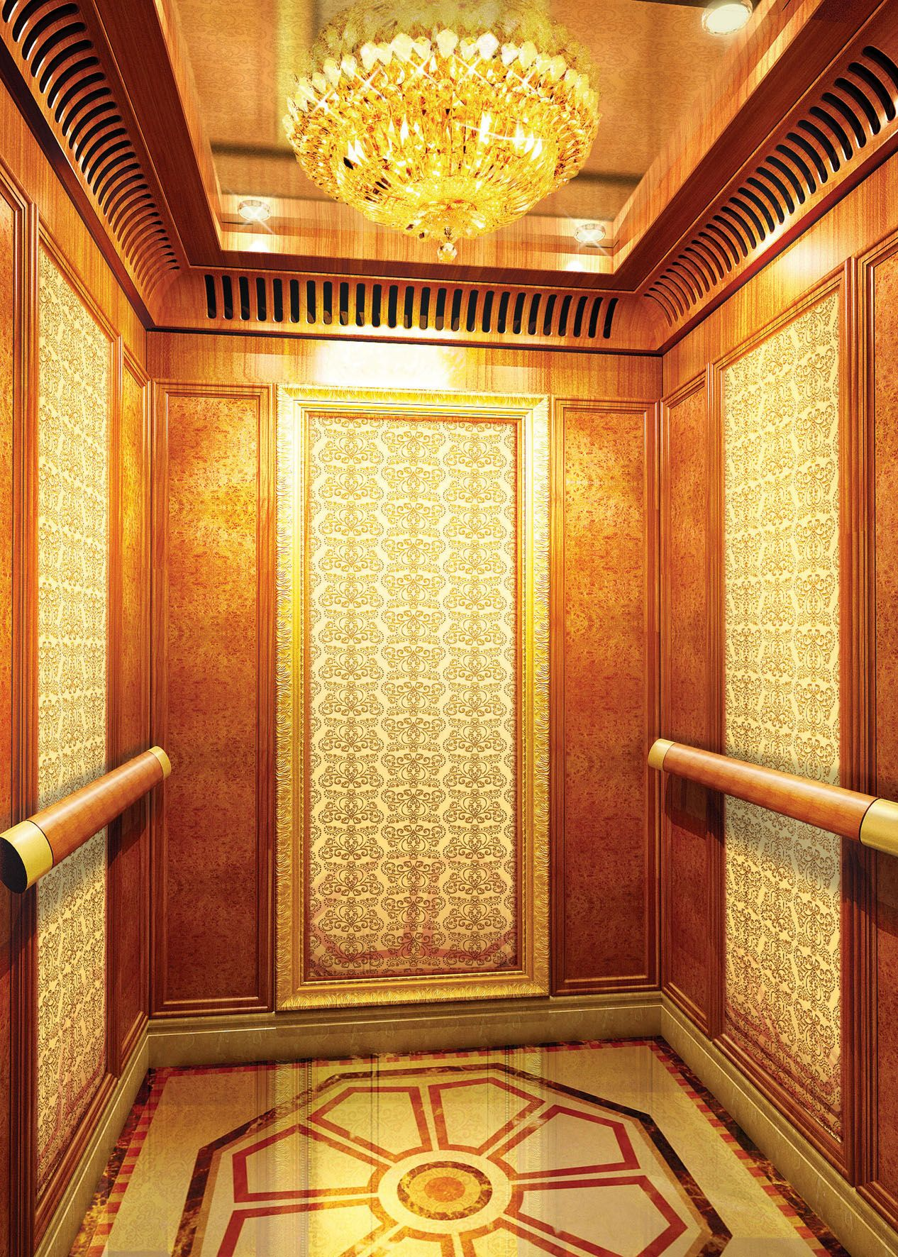 golden 3d embossed stainless steel projects for elevator