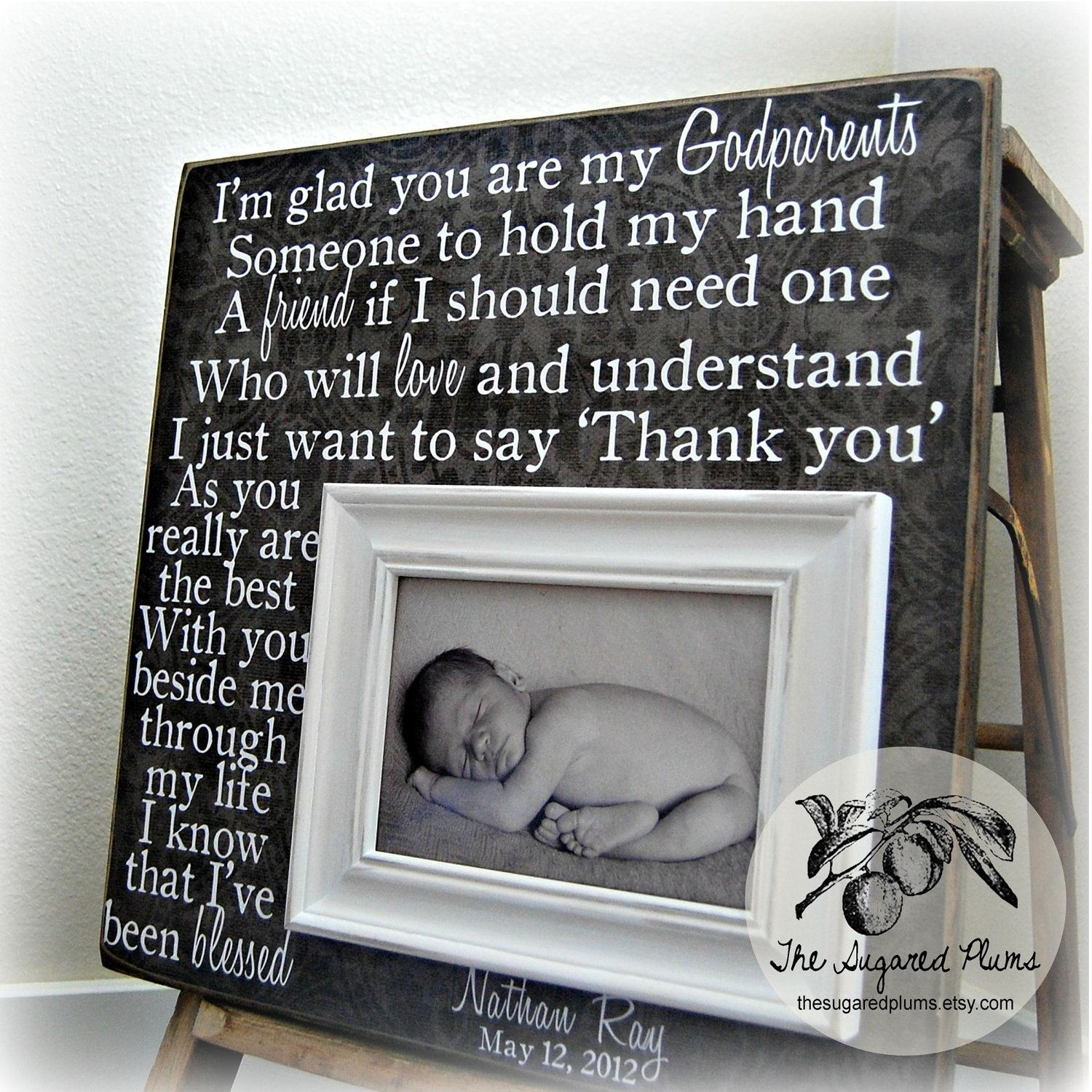 GODPARENTS GIFT Personalized Custom Picture Frame 16x16 Baby ...