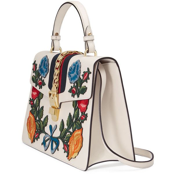 Gucci Sylvie Medium Floral Embroidered Leather Top-Handle Satchel Bag VyipDPGg