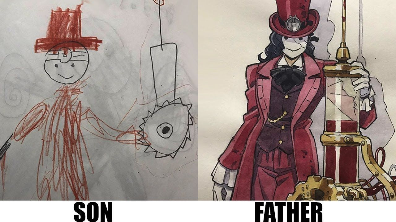 Dad turns his sons drawings into anime anime drawings