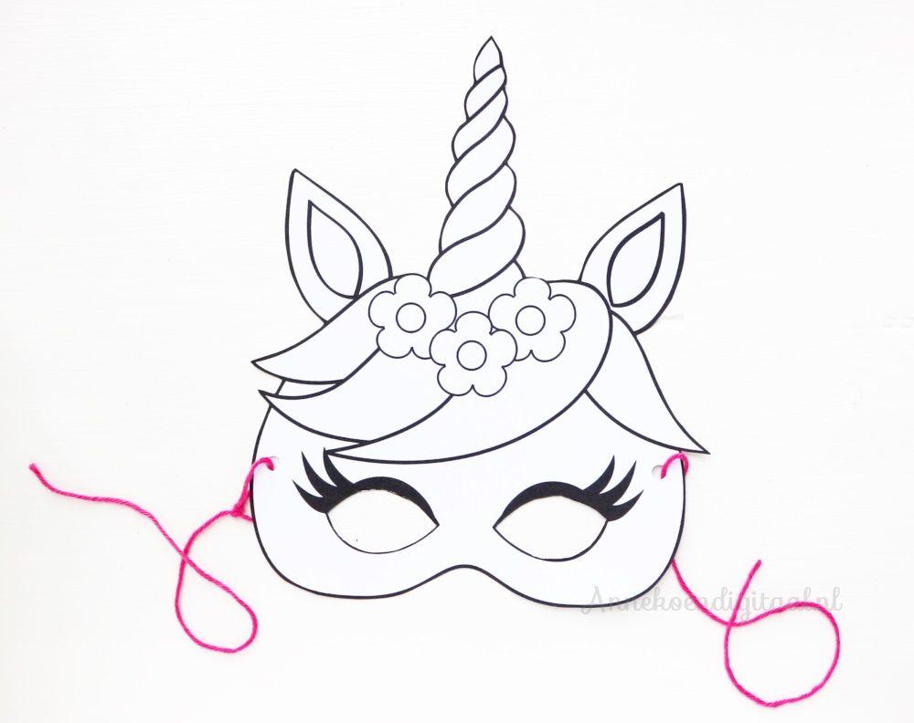 eenhoorn masker kleurplaat gratis printable coloriage