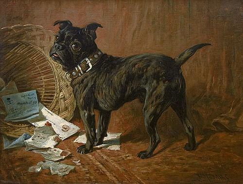 John Emms A Naughty Black Pug 19th Century Dog Paintings Pug