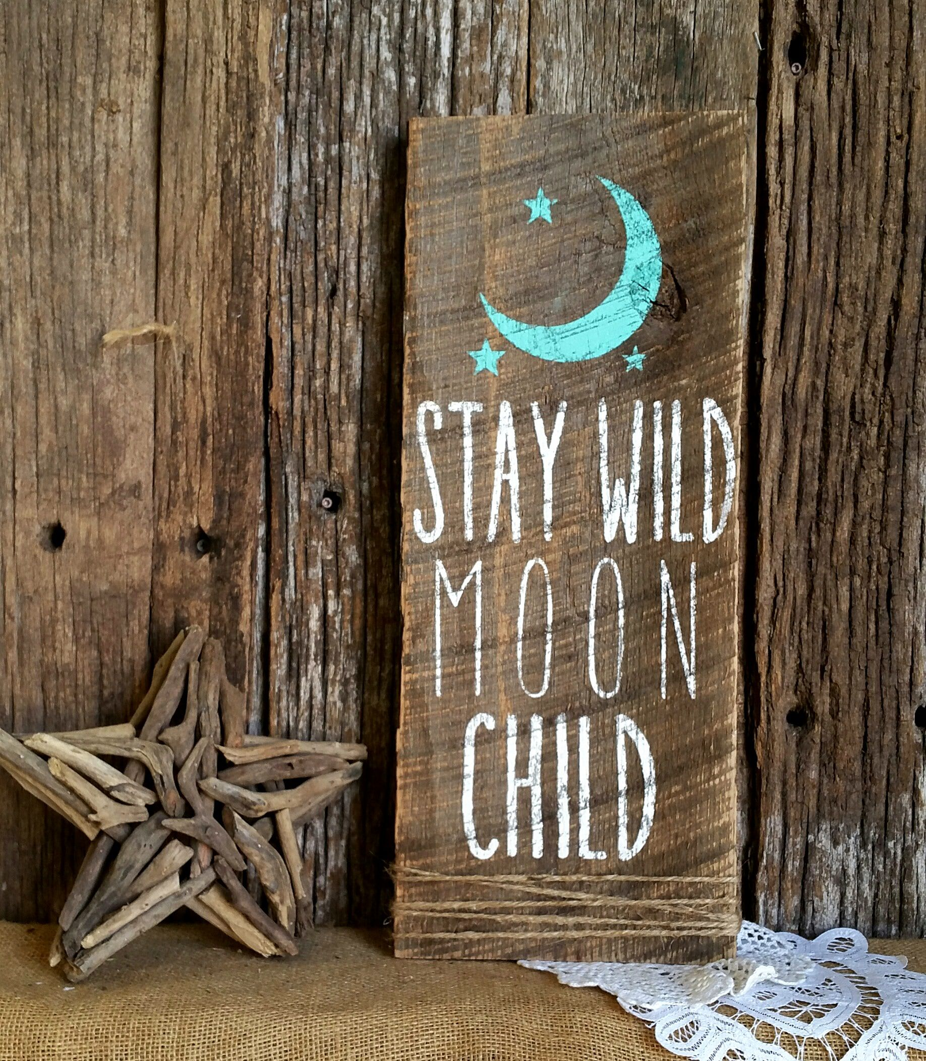 Stay Wild Moon Child Nursery Decor Woodland Rustic Chic Home Barnwood Sign