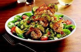 Zoe S Kitchen Orzo Tabouli Salad With Shrimp Kabobs