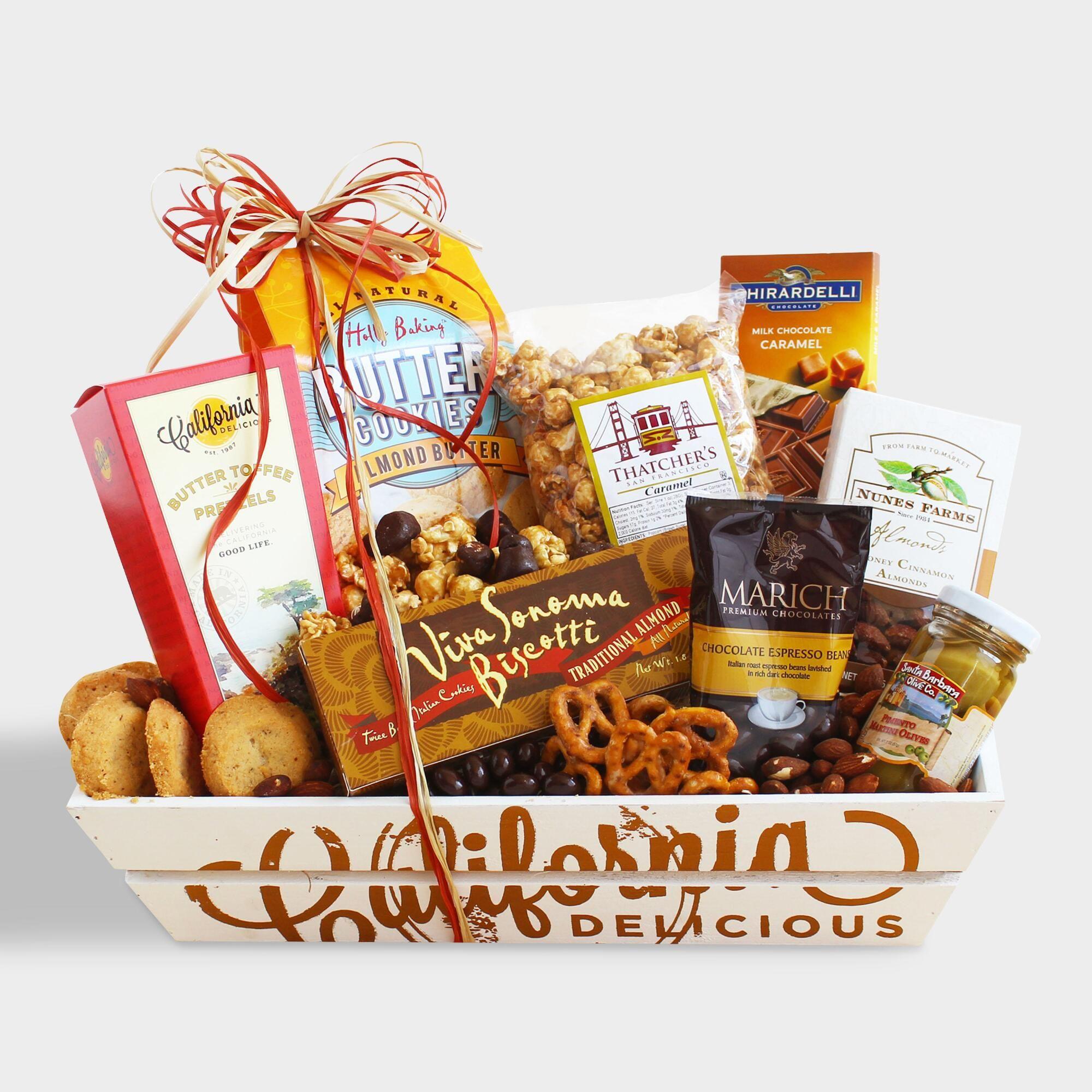 California sweet and salty sampler gift basket snack