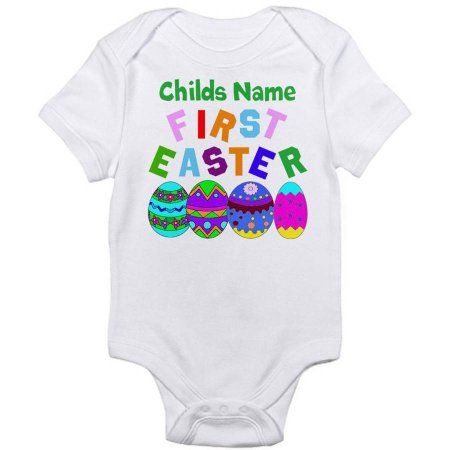 CafePress Personalized First Easter Infant Bodysuit, Infant Girl's, Size: 0 - 3 Months, White