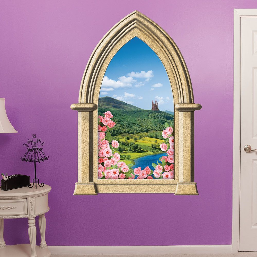 Enchanted Fairytale Castle Window Scene Wall Art Vinyl Stickers Fairy Mural