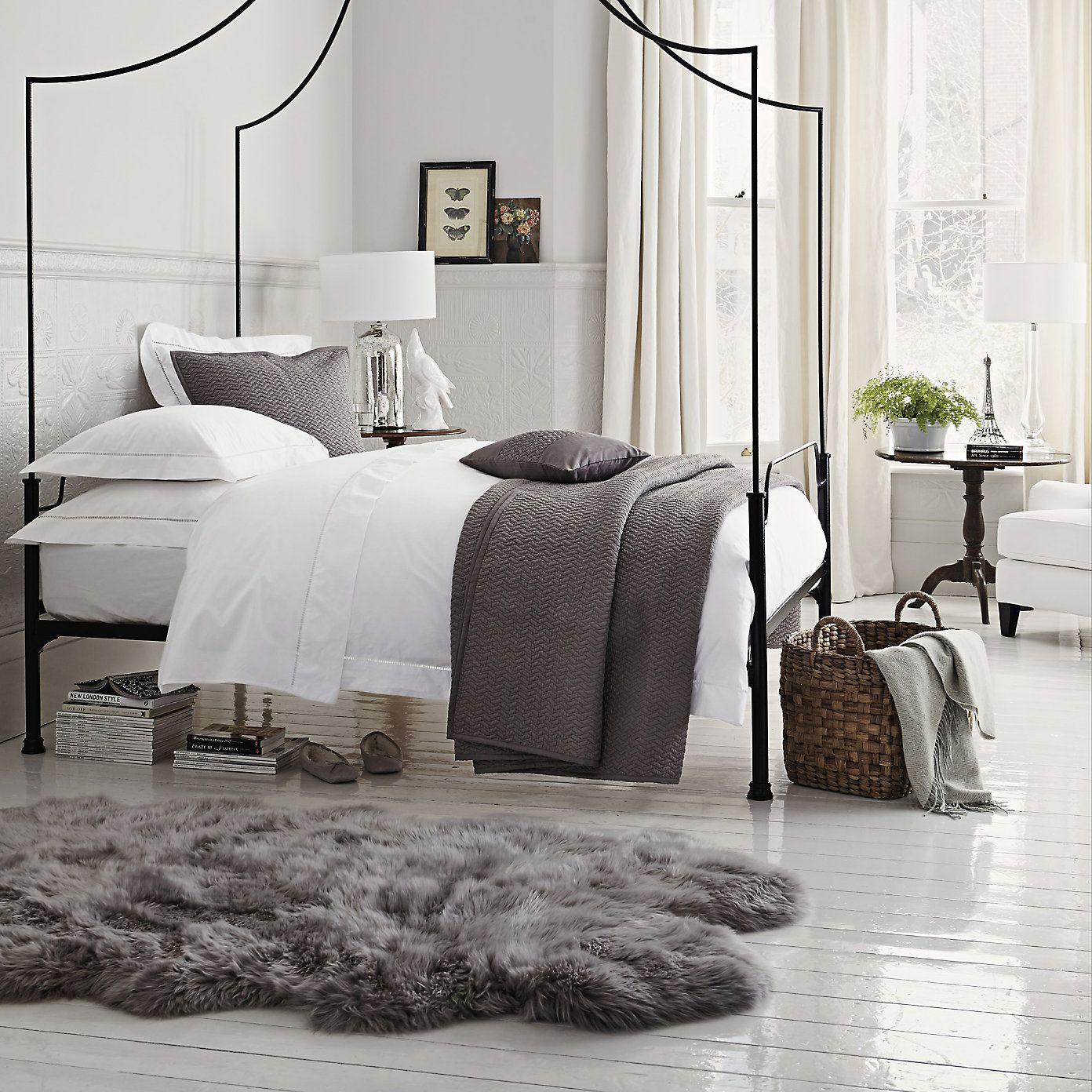 Grey Faux Sheepskin Rug For Bedroom