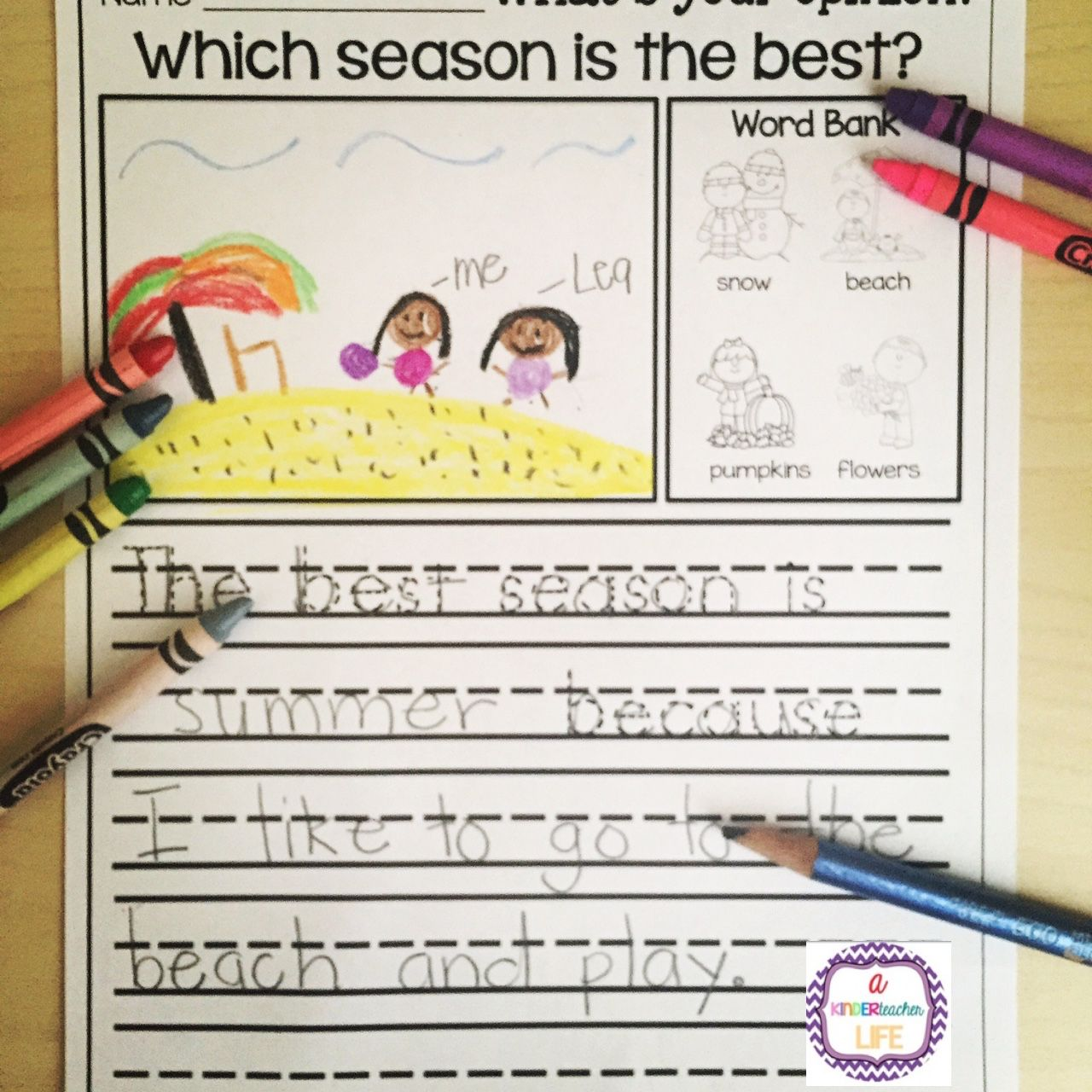 Editorial writing activity for kindergarten