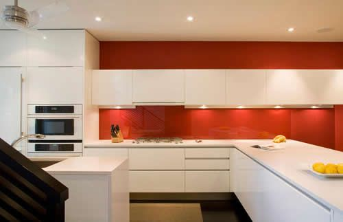 Countertop Dishwasher Cape Town : white gloss kitchen red splashback and matching paint above cupboards ...