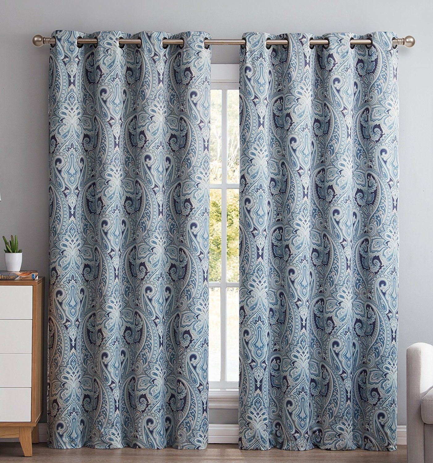 Me Paris Paisley Damask Thermal Blackout Grommet Window Curtain Panels