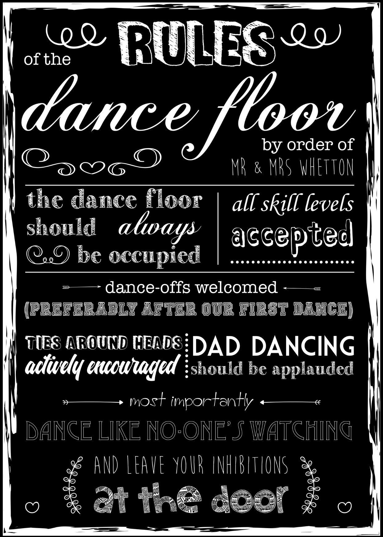 Wedding Dance Floor Rules Mr Mrs Parks Pinterest