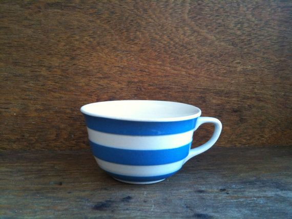 Green Cornishware Blue White Striped Coffee Cup /& Saucer Mug Tea UK RARE T.G