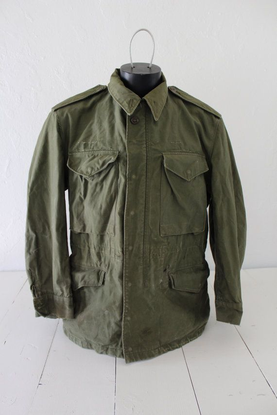 Vtg Military Jacket M51 M65 Olive Drab Field by FiestaForever ... 61236c81339