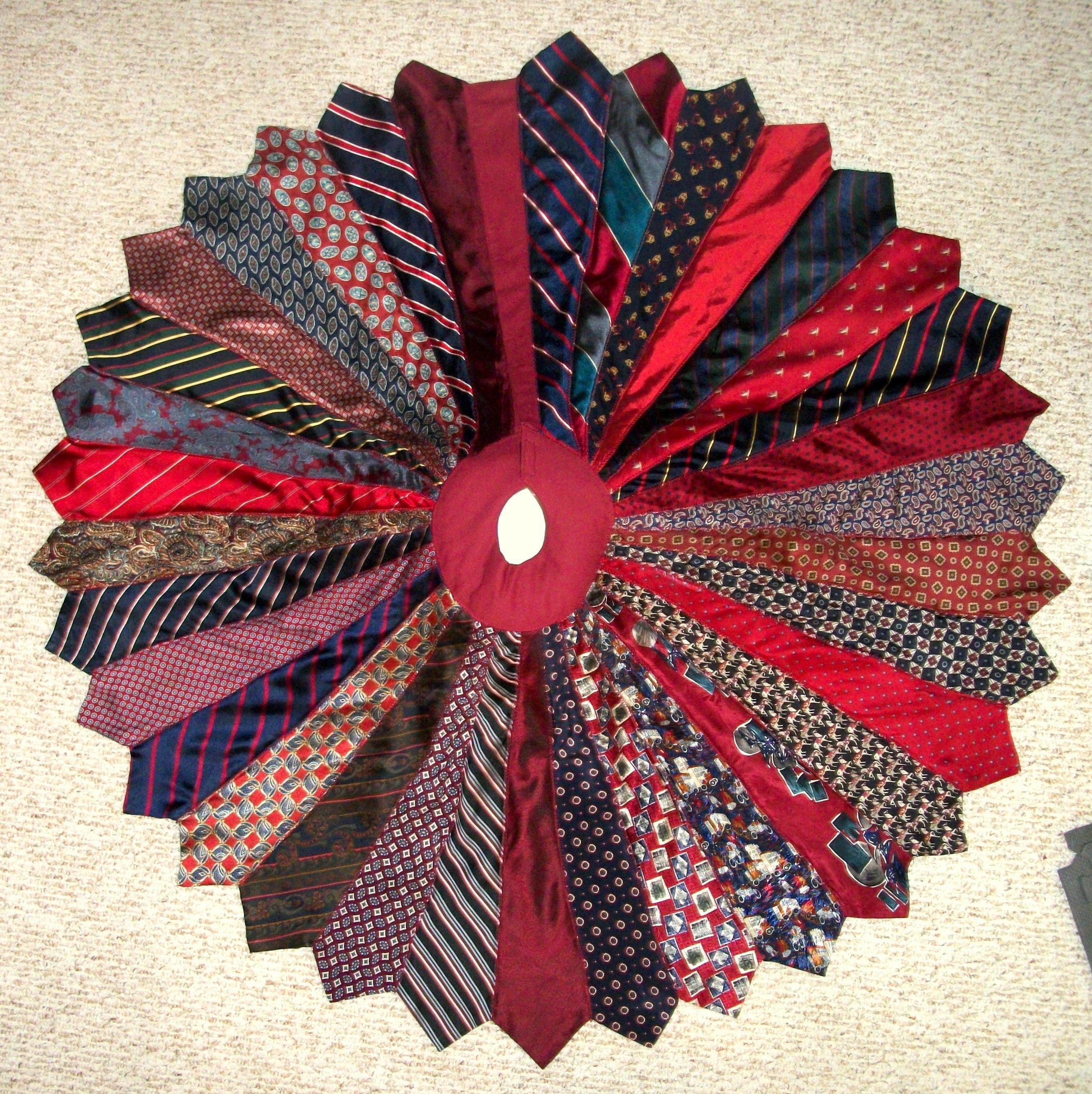 Necktie Christmas Tree Skirt ~ I made this Christmas tree skirt for ...