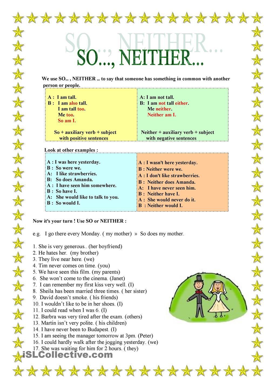 So Neither English Grammar English Learning Spoken Third Grade Reading Worksheets [ 1440 x 1018 Pixel ]