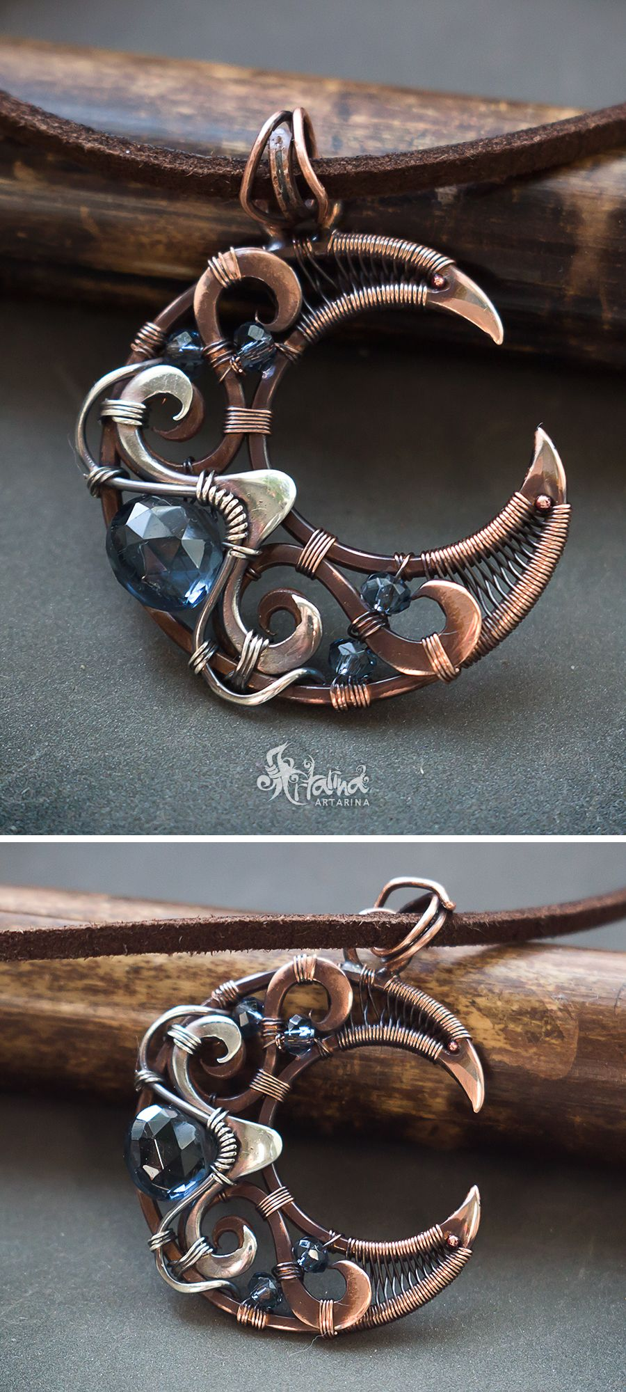 Copper and silver wire wrapped moon necklace // Fantasy wire wrap ...