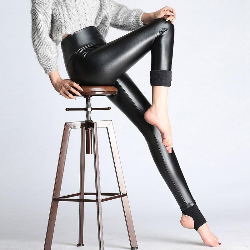 219da79c50 Women Elastic Velvet Pants Thick Female PU Leather Pants High Waist Warm  Winter Sexy Slim Plus Size Pencil Trousers #promdresses #womens #swimsuits  ...