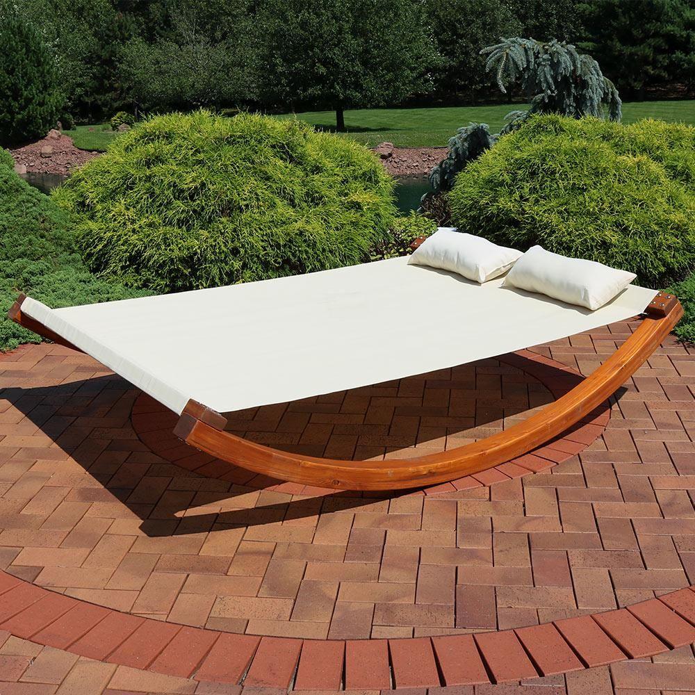 Sunnydaze Decor 2 Person Natural Wood Outdoor Chaise Lounge Outdoor Daybed Outdoor Chaise Lounge Outdoor Chaise