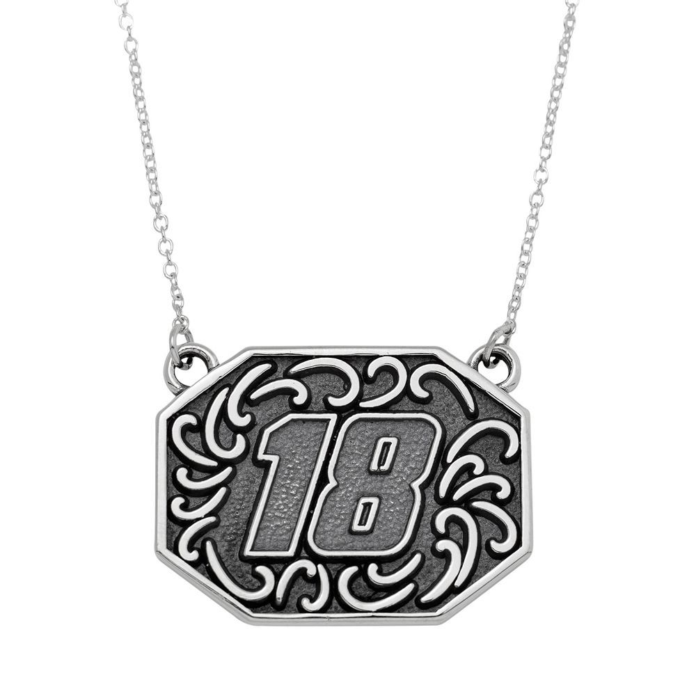 """Insignia Collection Nascar Kyle Busch Stainless Steel """"18"""" Pendant, Women's, Size: 18"""", Grey"""