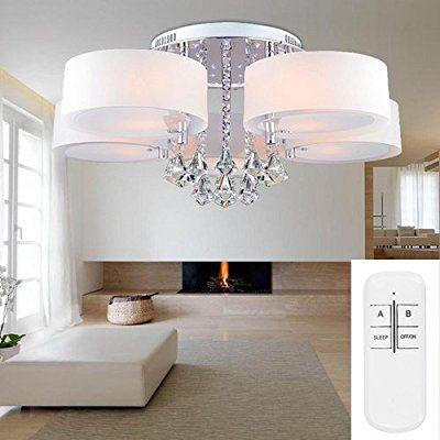 VINGOR Modern 5FL LED Deckenleuchte Acryl Pendelleuchte Kristall Dimmbar Wohnzimmer Hangeleuchte Fernbedienung
