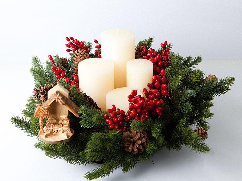 Flores Navide As Corona De Adviento Adviento Y Navidad Velas De Adviento