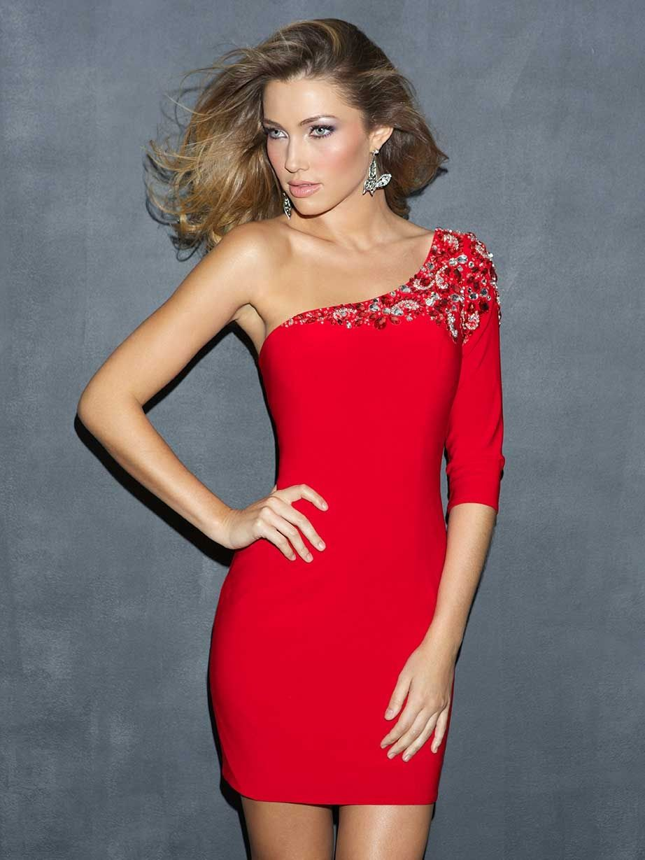 Corset One Shoulder Beaded Red Short Prom Dress | dresses ...