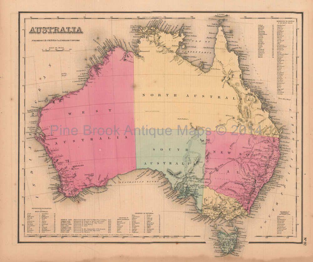 Australia Antique Map Colton GW Antique Maps - Antique maps for sale australia