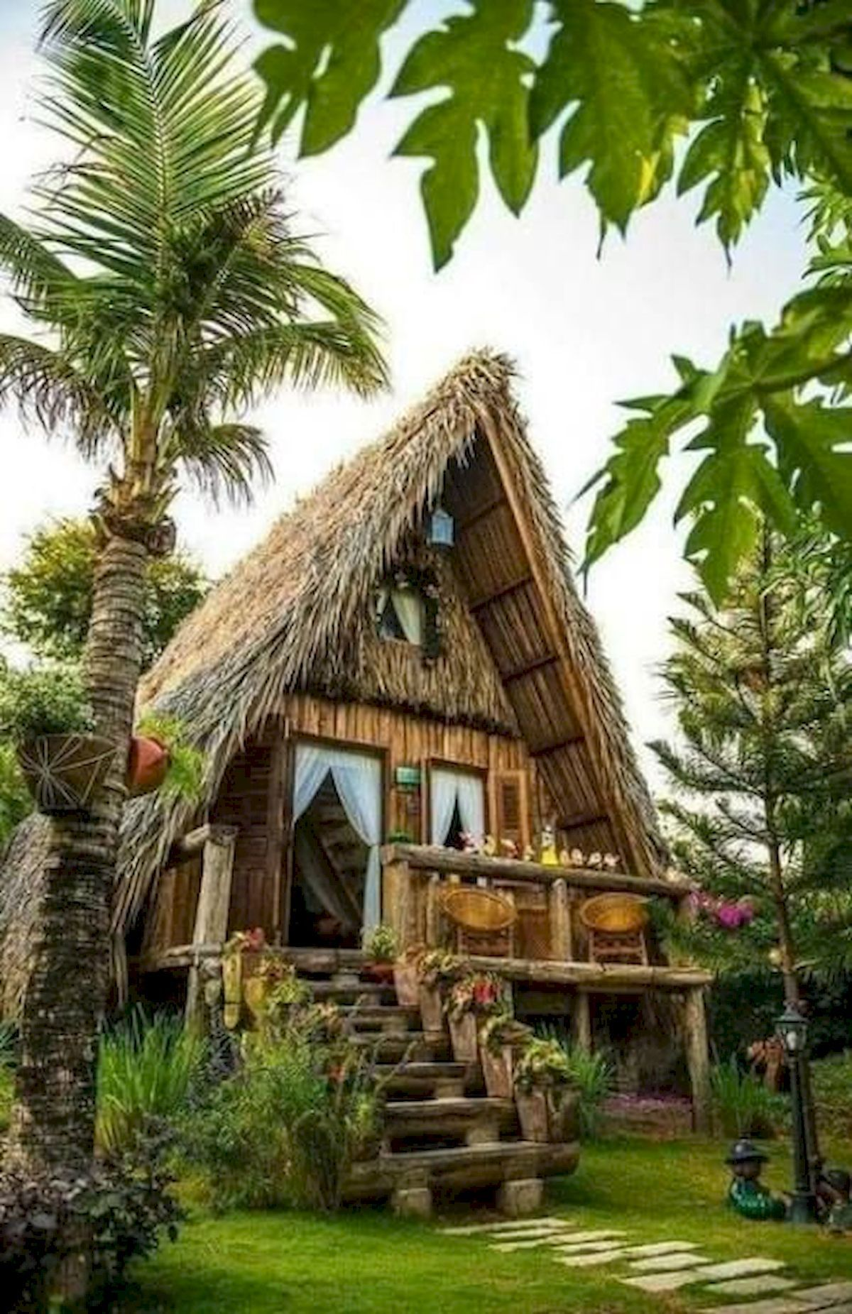 30 Awesome Beach House Design Ideas With More Pleasure In 2020 Bamboo House Design Cottage Design Hut House