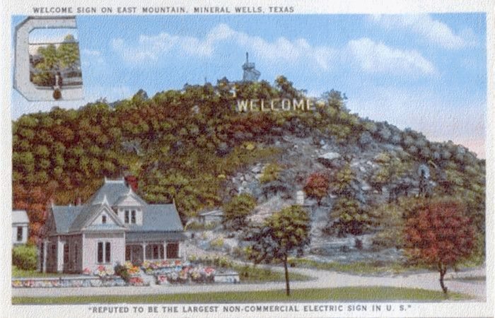The Welcome Sign On East Mountain Mineral Wells Texas Mineral