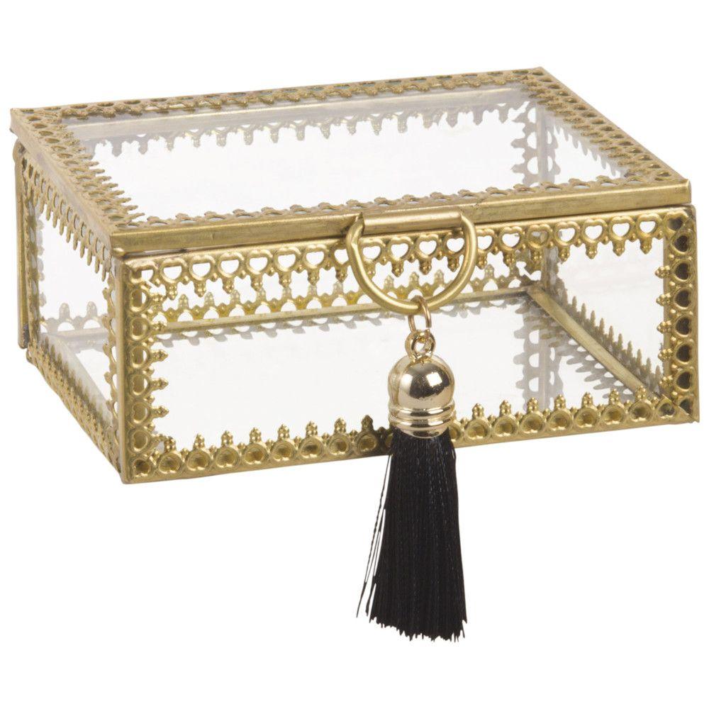 Lyla Rectangular Gold Colour Metal And Glass Jewellery Box Maisons Du Monde