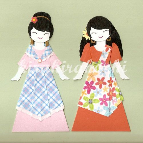 filipino girl in balintawak and maria clara dress paper doll card