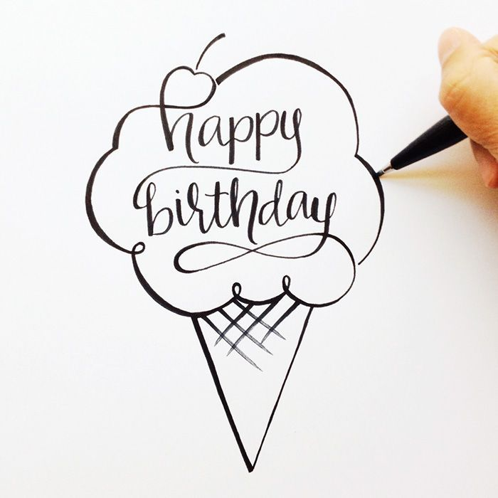 Hand Lettered Happy Birthday Sketch More Creative Ideas