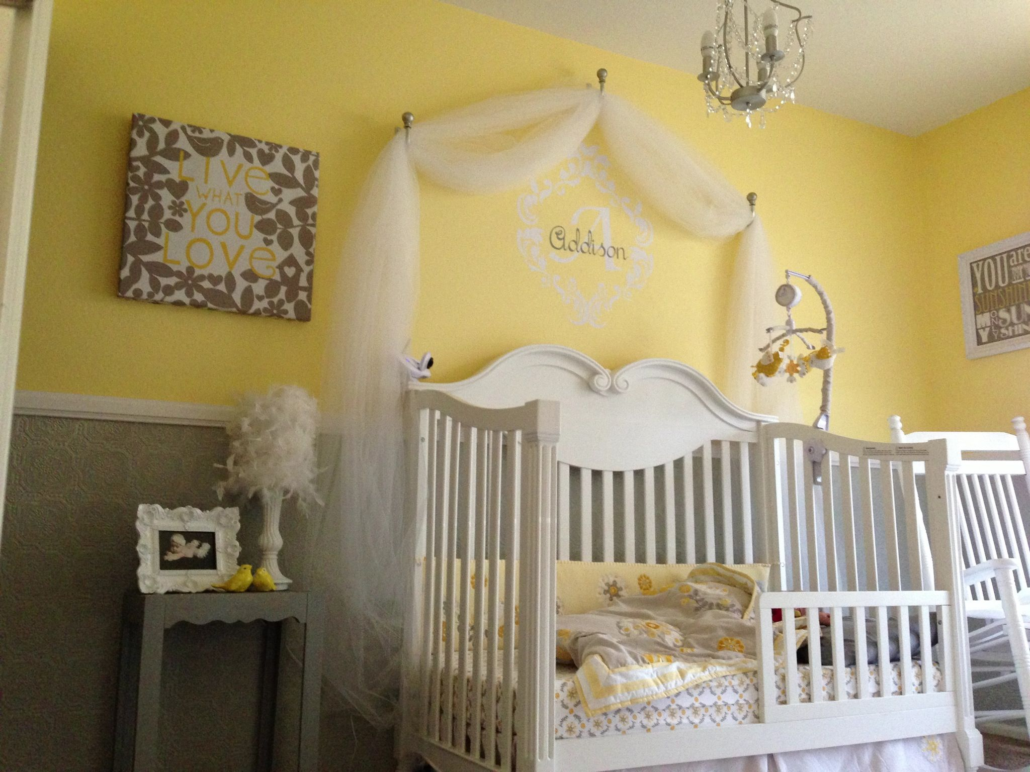 Yellow and grey nursery for Addison. Transition to toddler bed ...