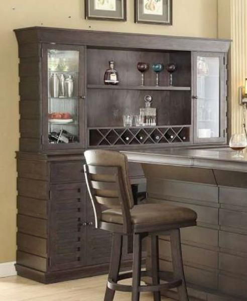 Eci Furniture Toscana Back Bar W Hutch In Black Oak Finish