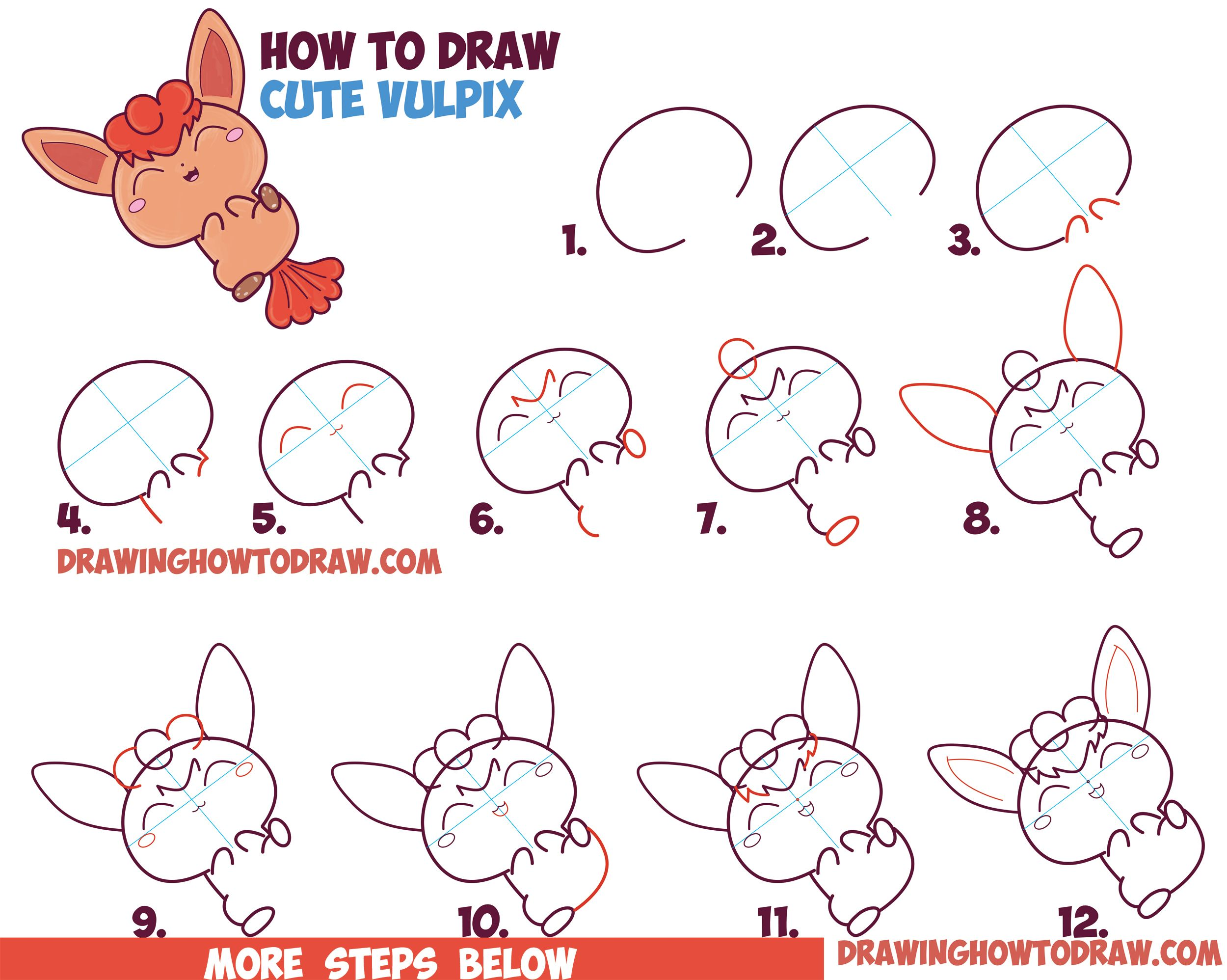 How to draw a cute kawaii chibi vulpix from pokemon in for Drawing ideas for beginners step by step