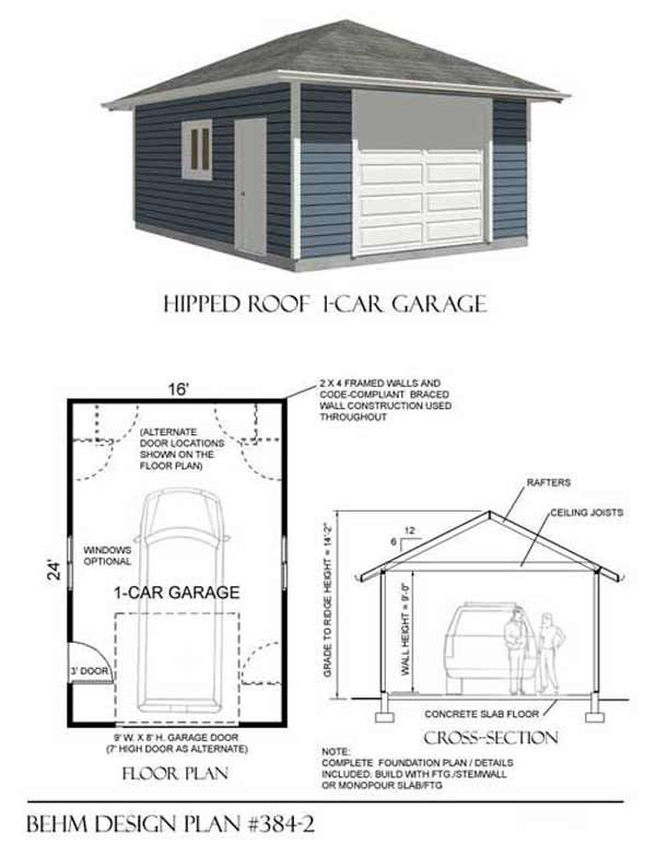 1 car hipped roof garage plan no 384 2 16 39 x 24 39 garage for Hip roof garage plans